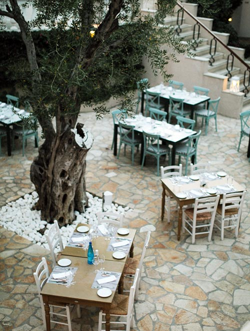 Restaurant dining under tree shade